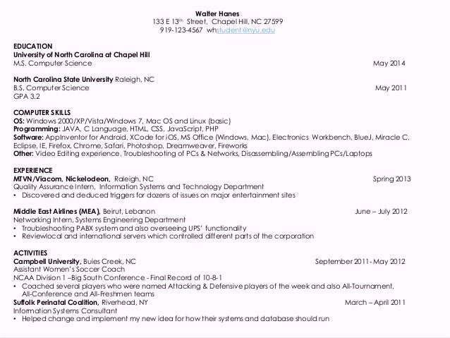 Resume's for Computer Science students 2014