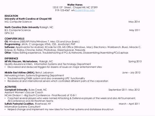 computer science resume objective undergraduate students resume