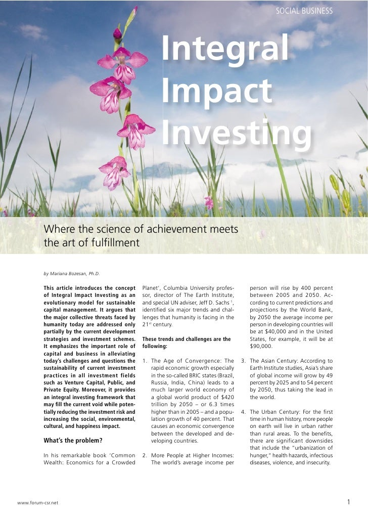 Integral Impact Investing (forum CSR international 2010-1)