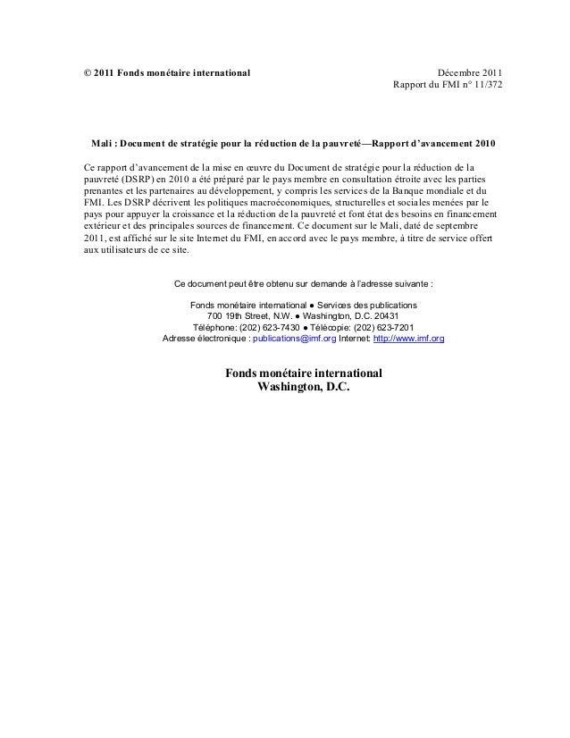 © 2011 Fonds monétaire international Décembre 2011Rapport du FMI n° 11/372Januaryxdfg 29, 2001 January 29, 2001 January 29...