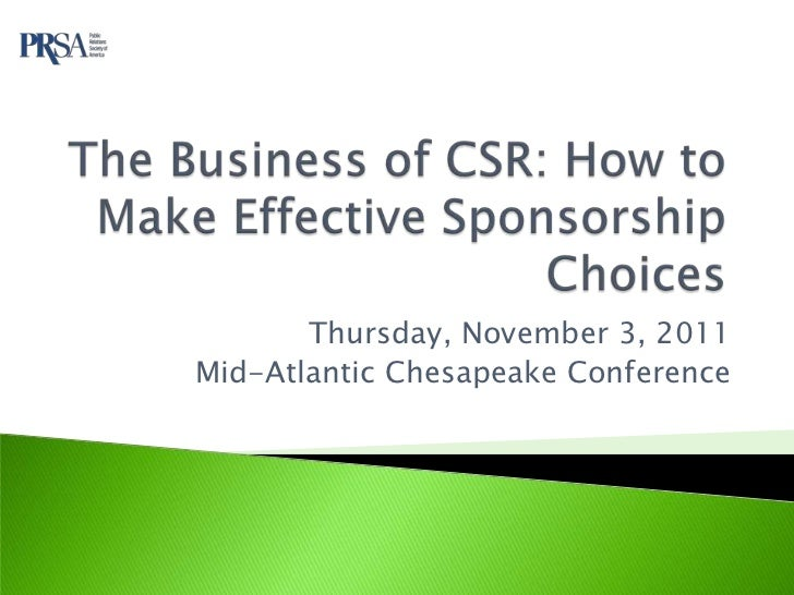 Thursday, November 3, 2011Mid-Atlantic Chesapeake Conference