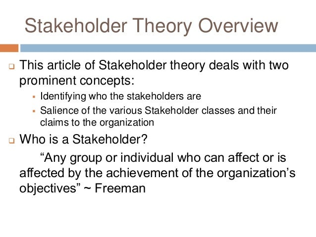 "social responsibility in stakeholder theory We saw earlier the stockholder theory advocated by milton friedman in the article titled ""the social responsibility of business is to increase its profits."
