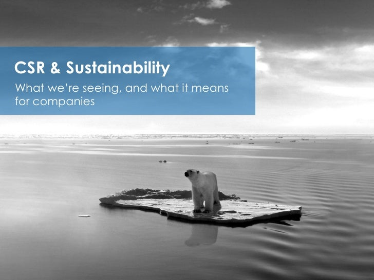 CSR & SustainabilityWhat we're seeing, and what it meansfor companies