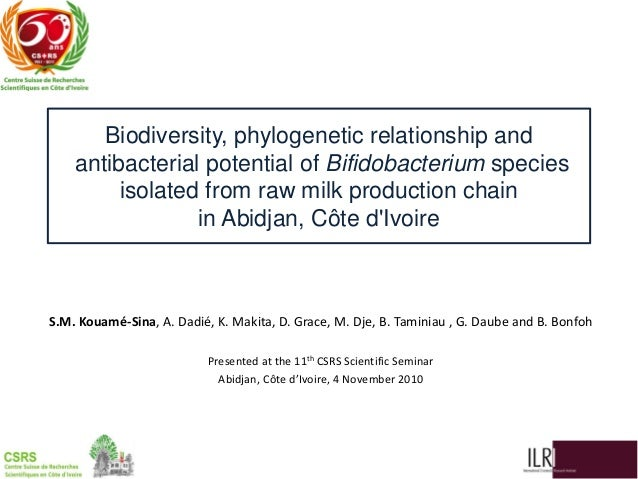 Biodiversity, phylogenetic relationship and antibacterial potential of Bifidobacterium species isolated from raw milk production chain in Abidjan, Côte d'Ivoire