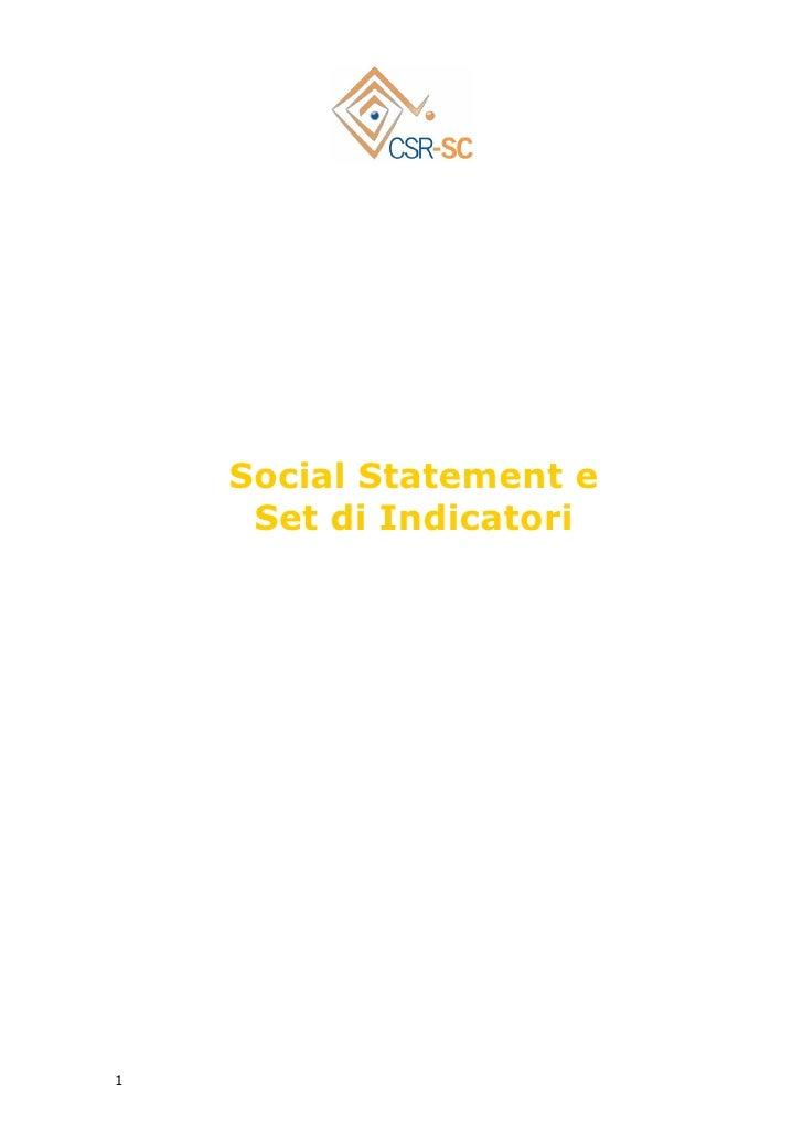 CSR SC Social Statement e Set di indicatori in Padova Sostenibile & Responsabile