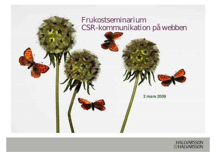 Seminarium: CSR-kommunikation på webben