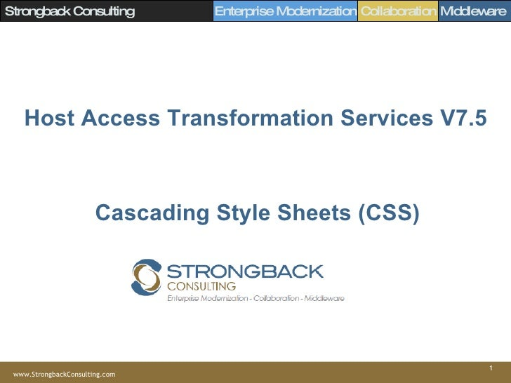 Host Access Transformation Services V7.5 Cascading Style Sheets (CSS)