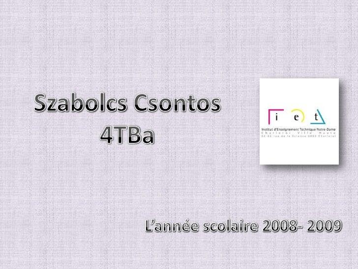 SzabolcsCsontos<br />4TBa<br />L'année scolaire 2008- 2009<br />