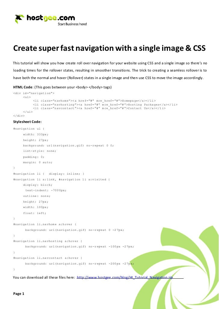 Create super fast navigation with a single image & CSS This tutorial will show you how create roll over navigation for you...