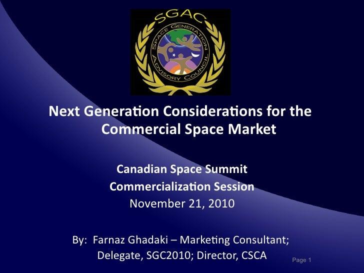 Space Commercialization - NextGen