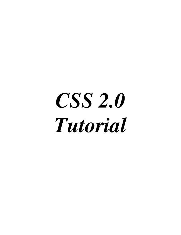 TUTORIAL DE CSS 2.0