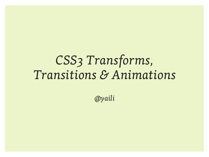 CSS3 Transforms Transitions and Animations