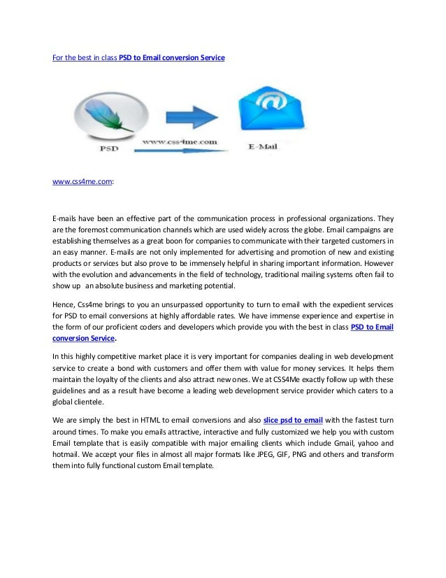 For the best in class PSD to Email conversion Service