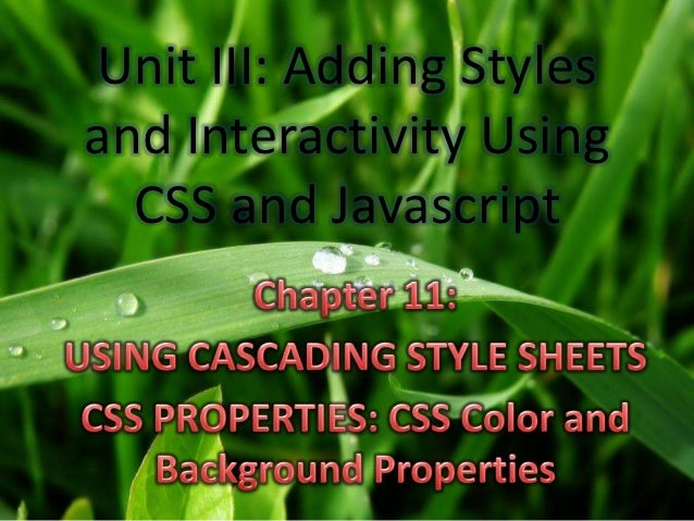 Css color and background properties