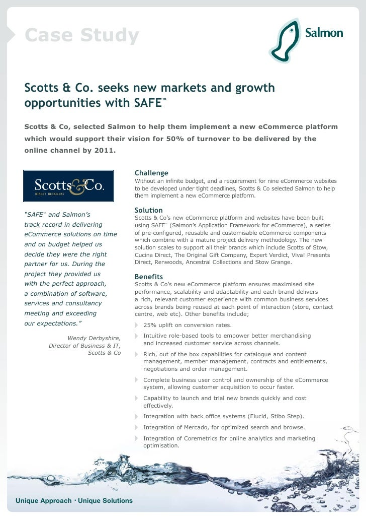 Case Study    Scotts & Co. seeks new markets and growth   opportunities with SAFE™   Scotts & Co, selected Salmon to help ...