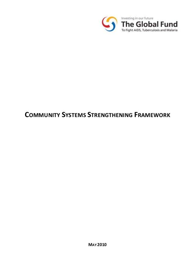 COMMUNITYSYSTEMSSTRENGTHENINGFRAMEWORK               MAY2010