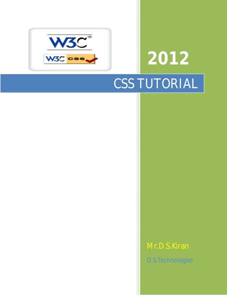 Css tutorial 2012