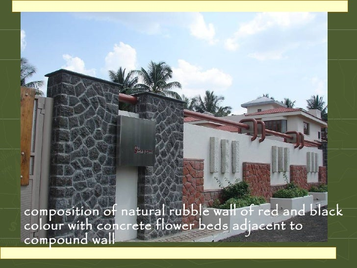 Landscape design a beautifully landscaped residence for Compound wall design photos