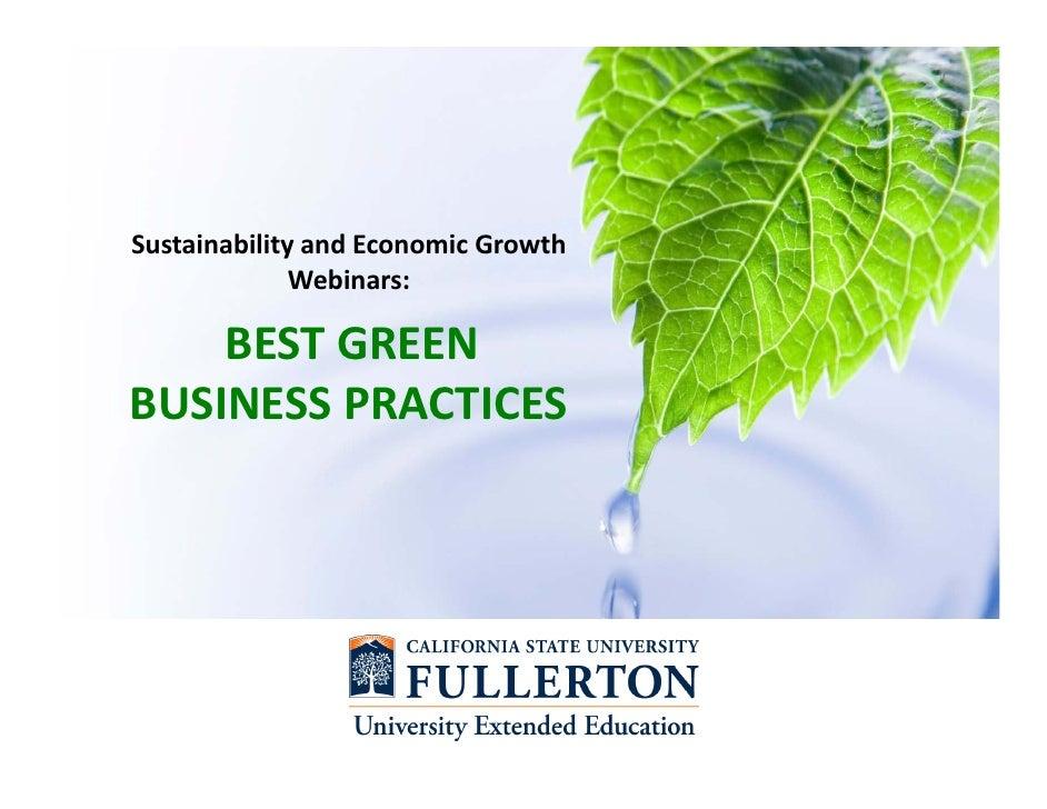 SustainabilityandEconomicGrowth              Webinars:    BESTGREENBUSINESSPRACTICES