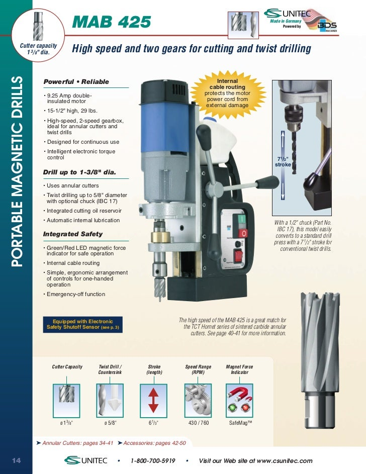 CS Unitec MAB 425 Portable Magnetic Drill