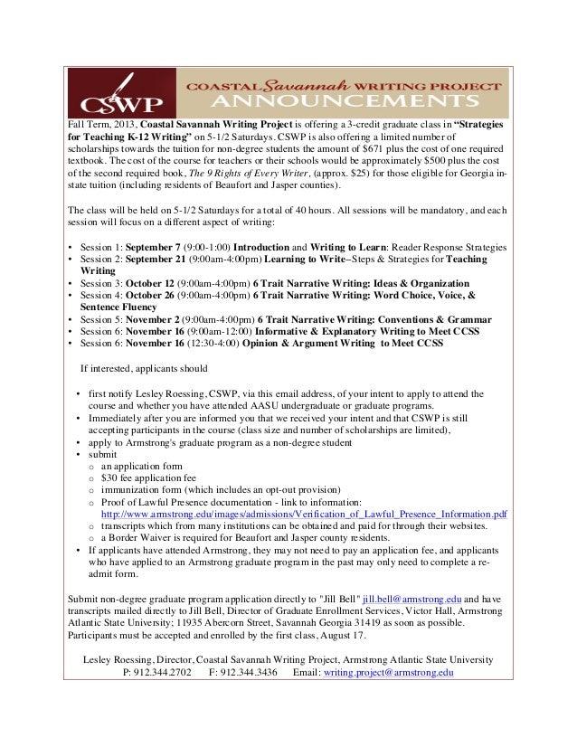 "CSWP graduate course ""Teaching K-12 Writing"""