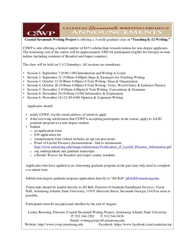"Coastal Savannah Writing Project is offering a 3-credit graduate class in ""Teaching K-12 Writing."" CSWP is also offering a..."