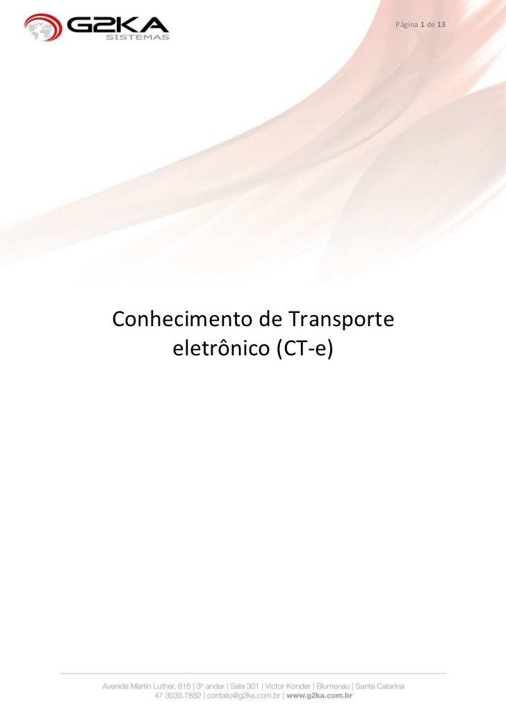 Página 1 de 13Conhecimento de Transporte     eletrônico (CT-e)