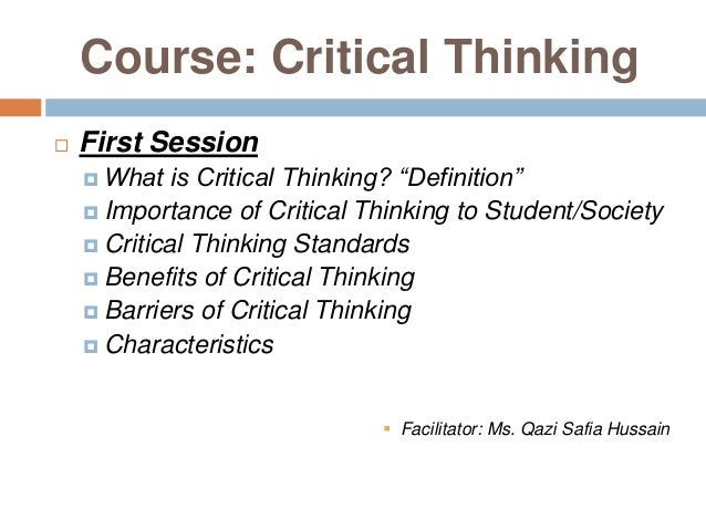 barriers to critical thinking definition