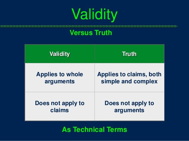 truth and validity essay In this case, valid logic equaled truth and a sound argument i used very simple  reasoning and logic to determine that i was being inadvertently.