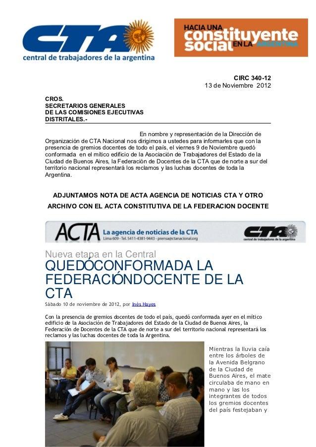 CIRC 340-12                                                                  13 de Noviembre 2012CROS.SECRETARIOS GENERALE...