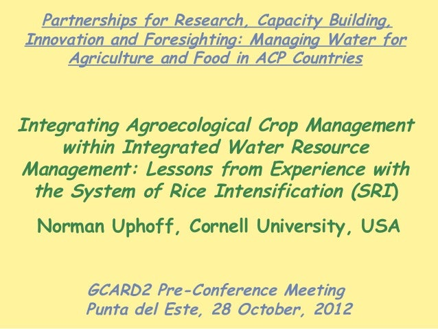 Partnerships for Research, Capacity Building,Innovation and Foresighting: Managing Water for     Agriculture and Food in A...