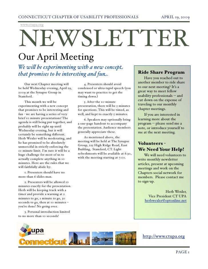 Ct UPA April 2009 Newsletter