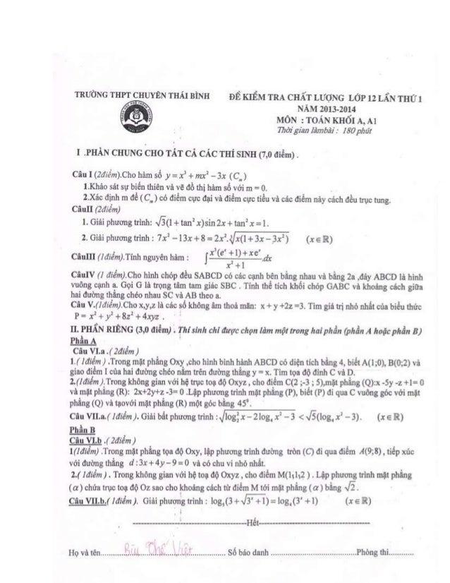Đề thi thử ĐH Toán Chuyên Thái Bình 2014 - Khối A, A1 - Lần 1