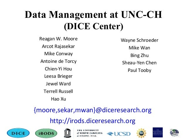 Data Management at UNC-CH (DICE Center) Reagan W. Moore Arcot Rajasekar Mike Conway Antoine de Torcy Chien-Yi Hou Leesa Br...