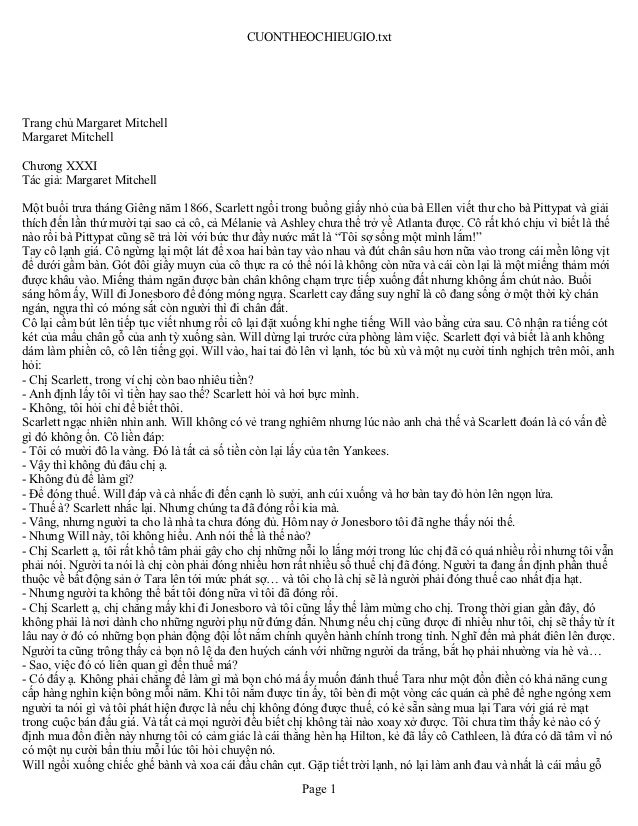 CUONTHEOCHIEUGIO.txtTrang chủ Margaret MitchellMargaret MitchellChương XXXITác giả: Margaret MitchellMột buổi trưa tháng G...