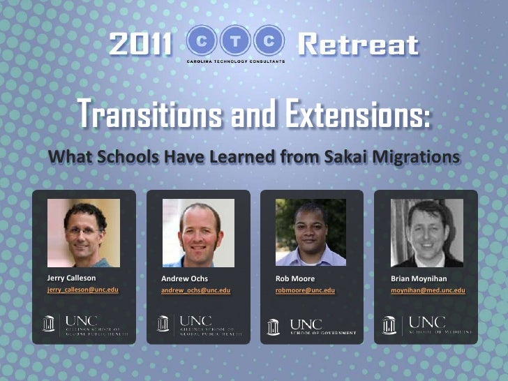 Transitions and Extensions – What Schools Have Learned from Sakai Migrations