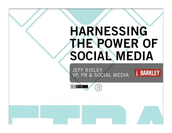 HARNESSING THE POWER OF SOCIAL MEDIA JEFF RISLEY VP, PR & SOCIAL MEDIA