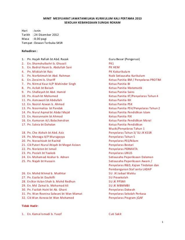 MINIT MESYUARAT JAWATANKUASA KURIKULUM KALI PERTAMA 2013SEKOLAH KEBANGSAAN SUNGAI ROKAMHari : IsninTarikh : 24 Disember 20...