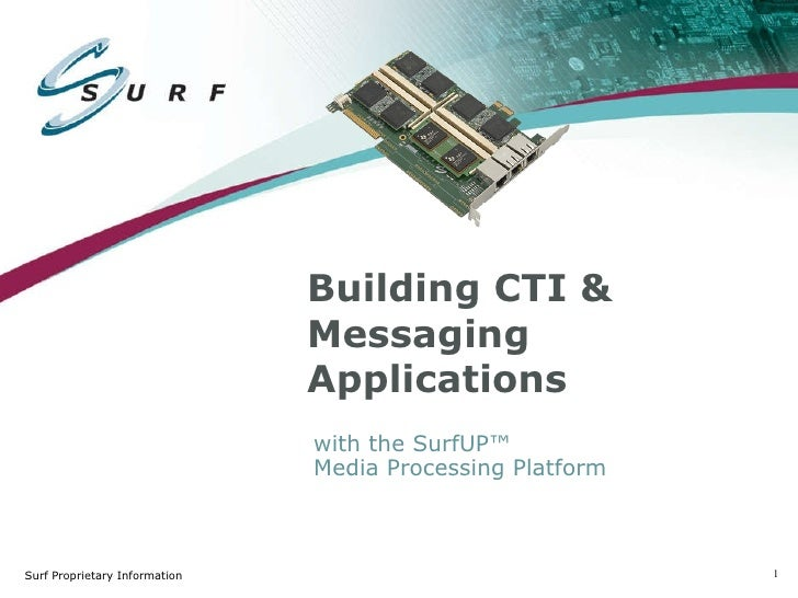 Building CTI & Messaging Applications with the SurfUP™  Media Processing Platform