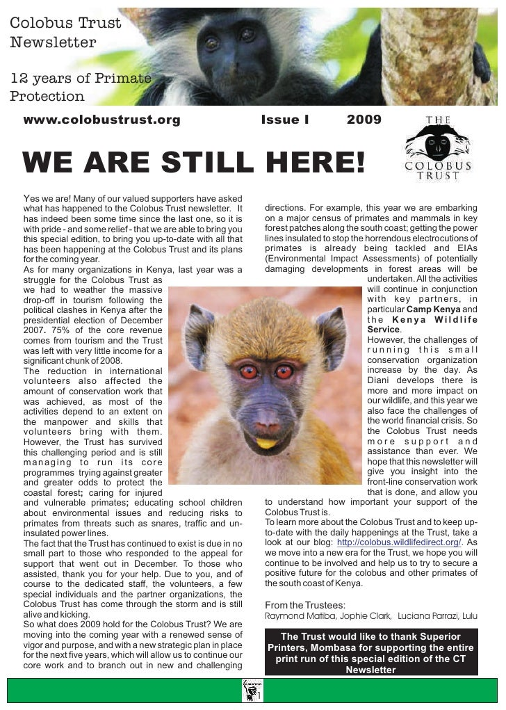 Colobus Trust Newsletter  12 years of Primate Protection                                                                 I...