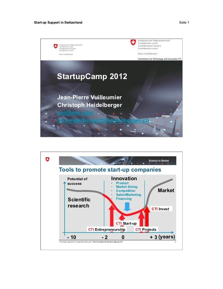 Start-up Support in Switzerland                                                                                           ...