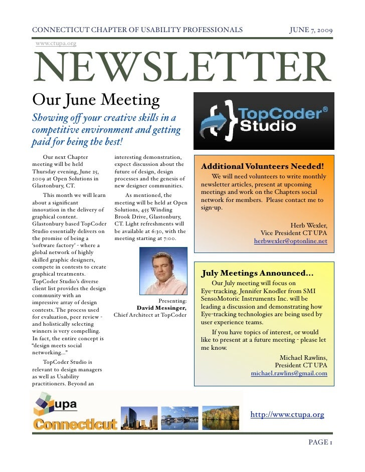 Ct June 2009 Newsletter