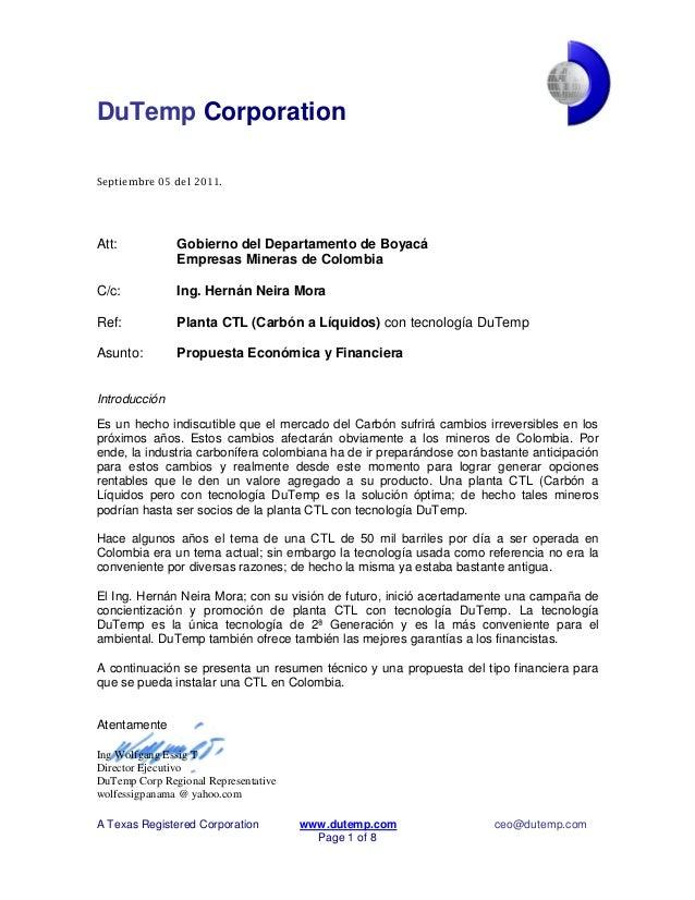 DuTemp Corporation A Texas Registered Corporation www.dutemp.com ceo@dutemp.com Page 1 of 8 Septiembre 05 del 2011. Att: G...