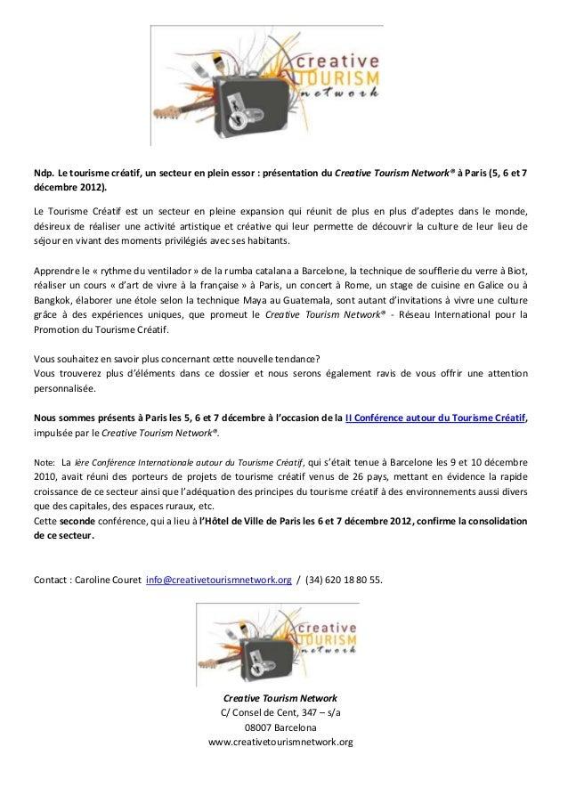 Ndp. Le tourisme créatif, un secteur en plein essor : présentation du Creative Tourism Network® à Paris (5, 6 et 7décembre...