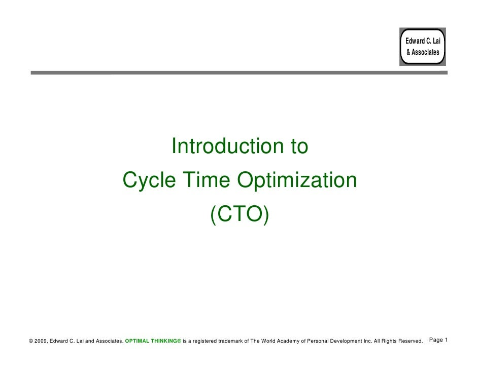 Cycle Time Optimization