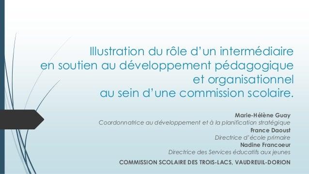 Illustration du rôle d'un intermédiaire en soutien au développement pédagogique et organisationnel au sein d'une commissio...