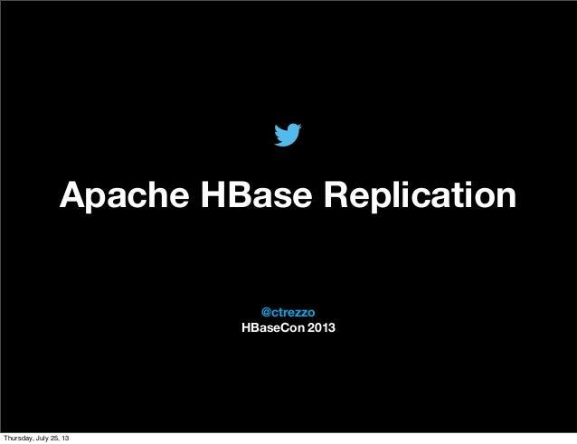 @TwitterAds | Confidential @ctrezzo HBaseCon 2013 Apache HBase Replication Thursday, July 25, 13