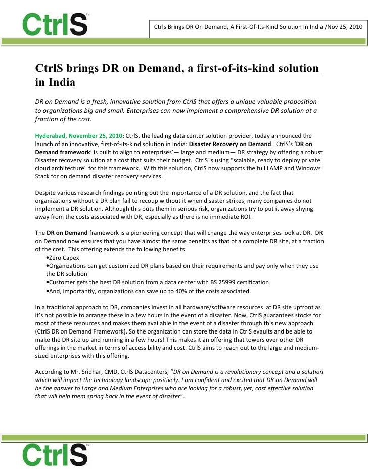 Ctrls Brings DR On Demand, A First-Of-Its-Kind Solution In India /Nov 25, 2010CtrlS brings DR on Demand, a first-of-its-ki...