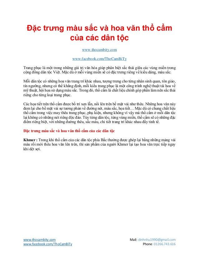 www.thocambity.com Mail: dinhnhu1990@gmail.comwww.facebook.com/ThoCamBiTy Phone: 01266.743.616Đặc trưng màu sắc và hoa văn...