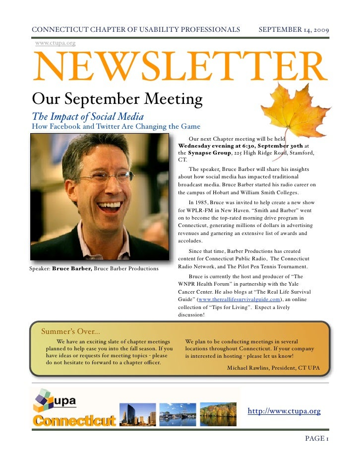 Connecticut Chapter Usability Professionals - Sept 2009 Newsletter